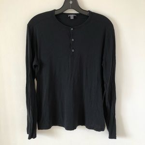 Vince Black Long Sleeve Top Silk Wool Cotton Sz M
